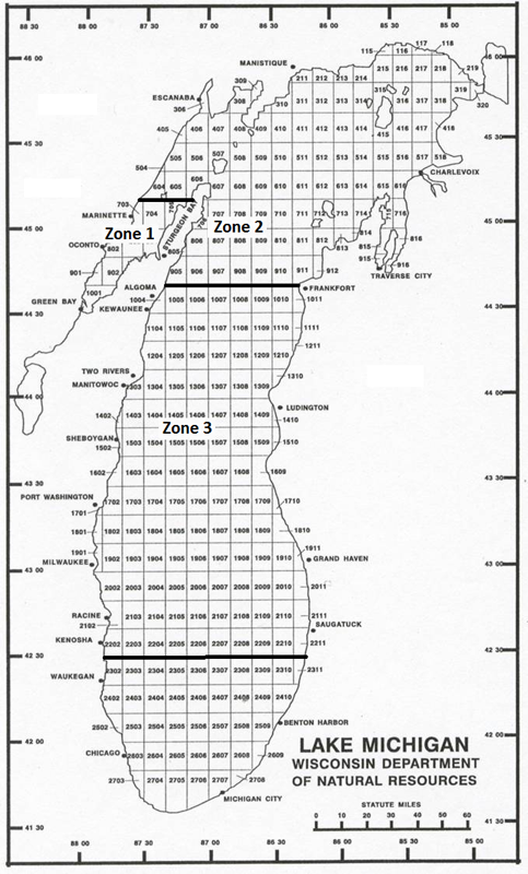 Lake Michigan commercial fishing zones.  Click on image for larger size. - Photo Credit: DNR