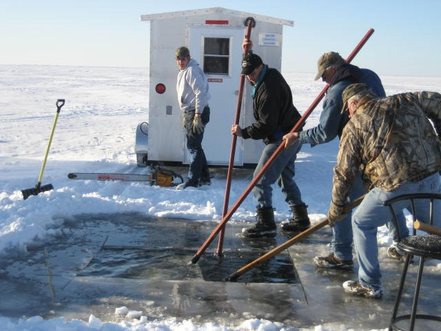Wisconsin's Lake Winnebago System sturgeon season brings together family and friends from across the state and beyond. Spearing licenses for 2018 were sold to spearers from 71 of 72 Wisconsin counties, 32 states and one Canadian province. - Photo credit: Darcy Kind